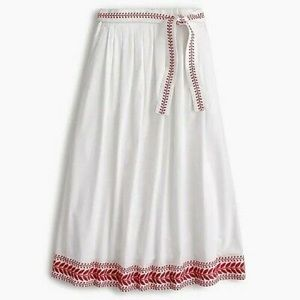 J CREW EMBROIDERED WHITE MAXI SKIRT